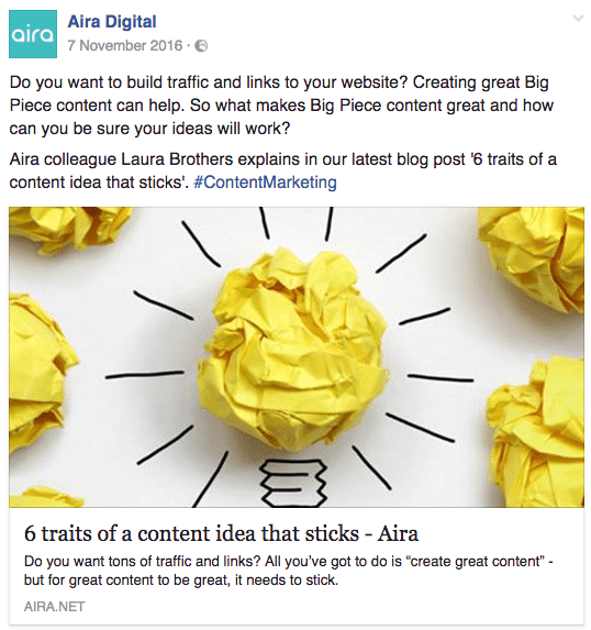 An example of how large images appear on Facebook when shared using Open Graph tags