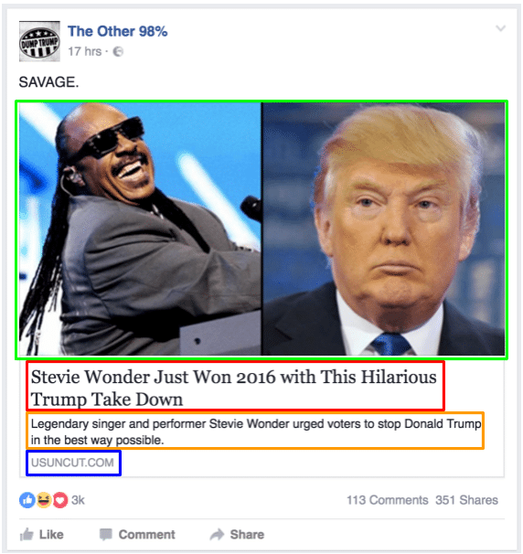 Example screenshot Open Graph Facebook post