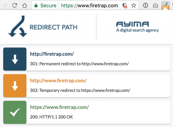 Check for redirects on pages