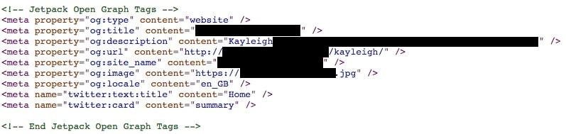 Screenshot Of Jetpack Open Graph Tags In WordPress