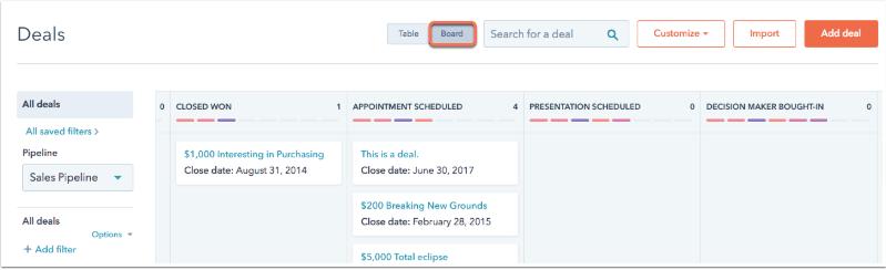 HubSpot deals