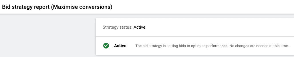 Bid Strategy Report (maximise conversions)