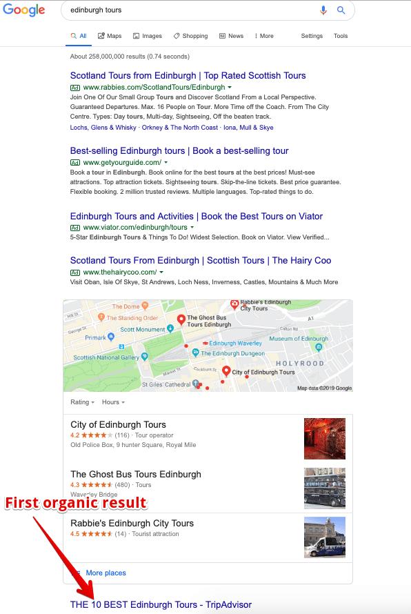 edinburgh tours SERP