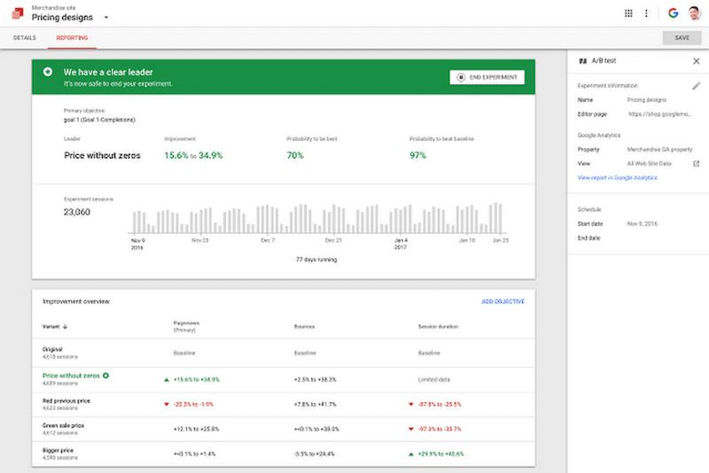 google optimize report