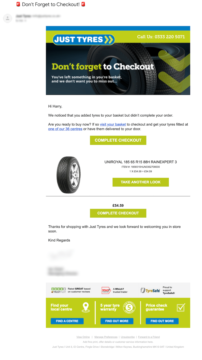 just tyres cart abandonment example
