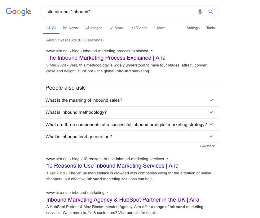 aira inbound marketing site search